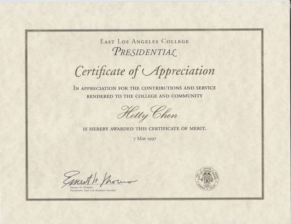 Awards credentials hetty usa east los angeles college certificate of appreciation yadclub Image collections